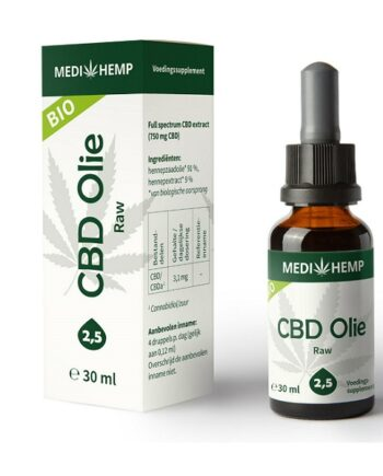 Medihemp CBD olie raw 30 ml 2.5 procent
