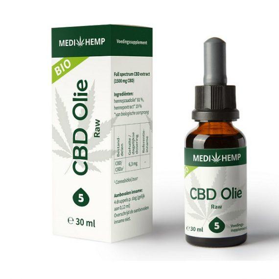 Medihemp CBD olie raw 30 ml 5 procent